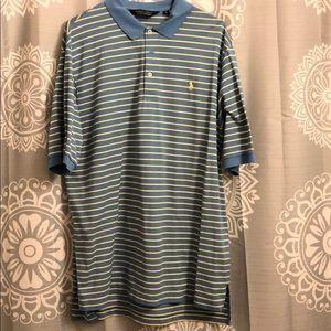 Polo golf XL blue yellow collar shirt EUC